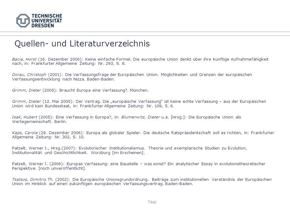 Titel Quellen- und Literaturverzeichnis Bacia, Horst (16.