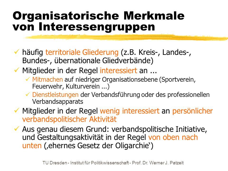 TU Dresden - Institut für Politikwissenschaft - Prof. Dr. Werner J. Patzelt Organisatorische Merkmale von Interessengruppen häufig territoriale Gliede