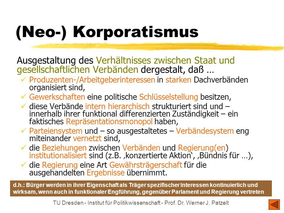 TU Dresden - Institut für Politikwissenschaft - Prof. Dr. Werner J. Patzelt (Neo-) Korporatismus Ausgestaltung des Verhältnisses zwischen Staat und ge