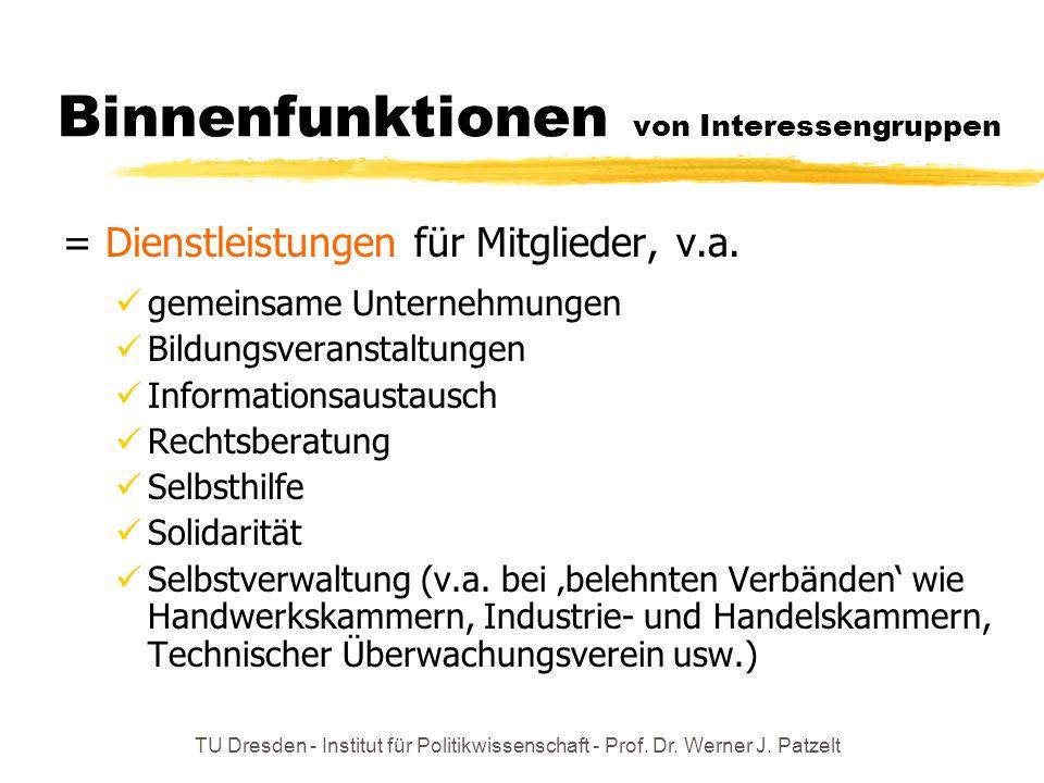 TU Dresden - Institut für Politikwissenschaft - Prof. Dr. Werner J. Patzelt Binnenfunktionen von Interessengruppen = Dienstleistungen für Mitglieder,