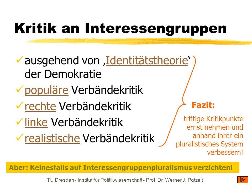 TU Dresden - Institut für Politikwissenschaft - Prof. Dr. Werner J. Patzelt Kritik an Interessengruppen ausgehend von Identitätstheorie der Demokratie