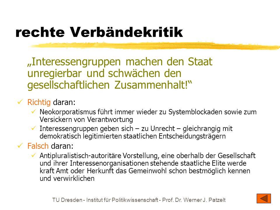 TU Dresden - Institut für Politikwissenschaft - Prof. Dr. Werner J. Patzelt rechte Verbändekritik Interessengruppen machen den Staat unregierbar und s
