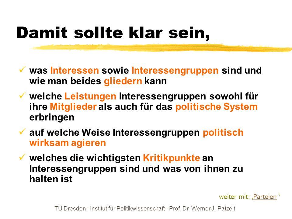 TU Dresden - Institut für Politikwissenschaft - Prof. Dr. Werner J. Patzelt Damit sollte klar sein, was Interessen sowie Interessengruppen sind und wi