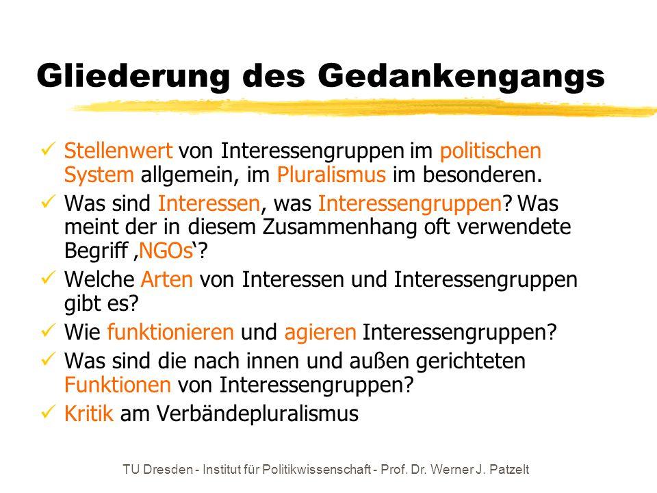 TU Dresden - Institut für Politikwissenschaft - Prof. Dr. Werner J. Patzelt Gliederung des Gedankengangs Stellenwert von Interessengruppen im politisc