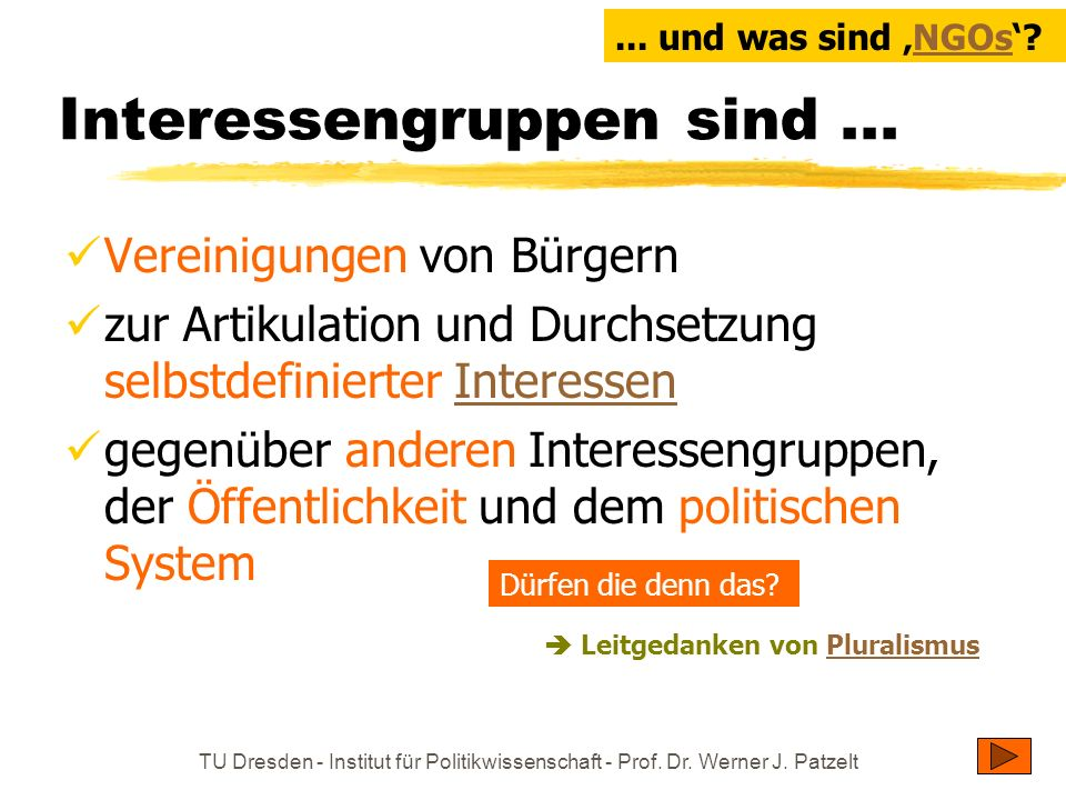 TU Dresden - Institut für Politikwissenschaft - Prof. Dr. Werner J. Patzelt Interessengruppen sind... Vereinigungen von Bürgern zur Artikulation und D