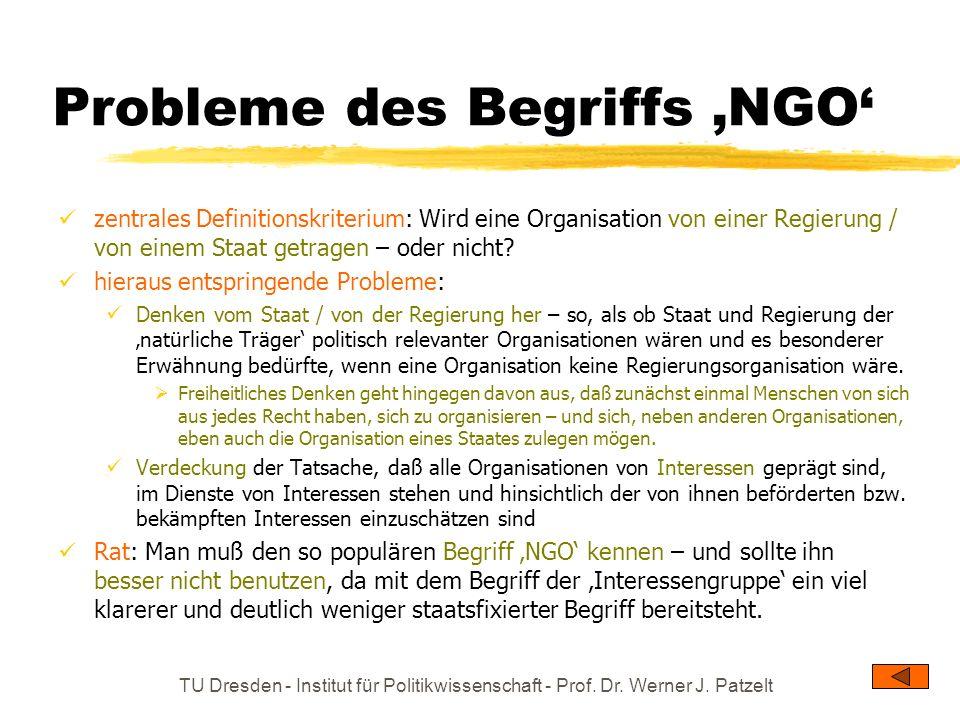 TU Dresden - Institut für Politikwissenschaft - Prof. Dr. Werner J. Patzelt Probleme des Begriffs NGO zentrales Definitionskriterium: Wird eine Organi