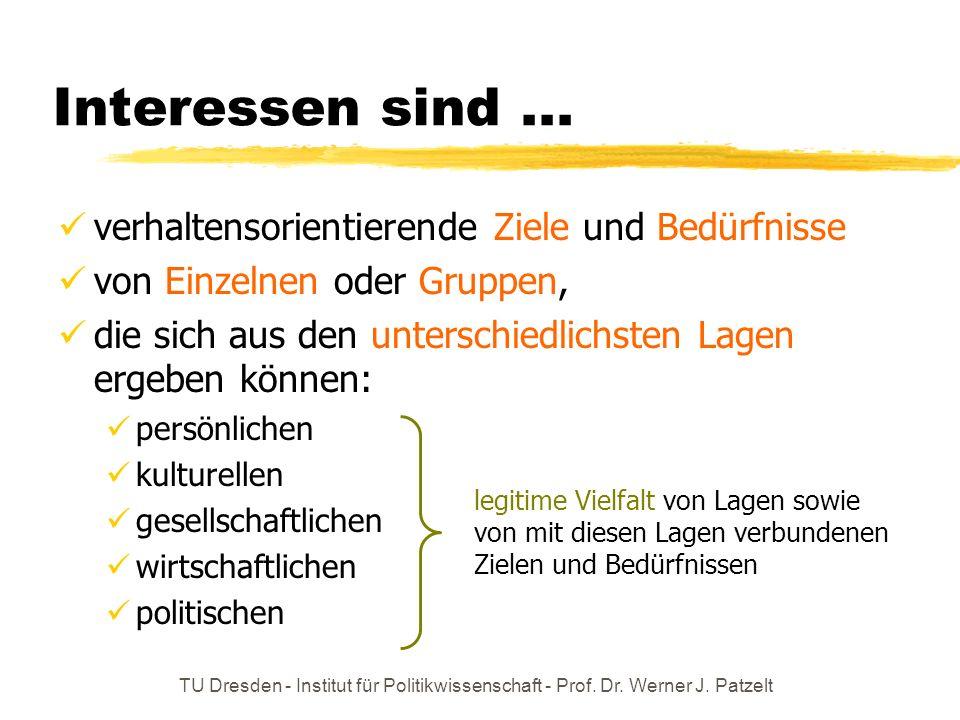 TU Dresden - Institut für Politikwissenschaft - Prof. Dr. Werner J. Patzelt Interessen sind... verhaltensorientierende Ziele und Bedürfnisse von Einze