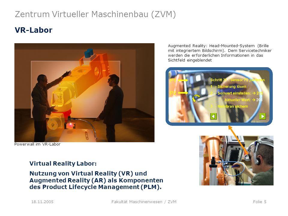 Zentrum Virtueller Maschinenbau (ZVM) 18.11.2005Fakultät Maschinenwesen / ZVMFolie 5 VR-Labor Virtual Reality Labor: Nutzung von Virtual Reality (VR) und Augmented Reality (AR) als Komponenten des Product Lifecycle Management (PLM).