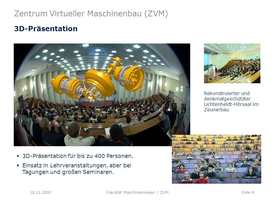 Zentrum Virtueller Maschinenbau (ZVM) 18.11.2005Fakultät Maschinenwesen / ZVMFolie 6 3D-Präsentation 3D-Präsentation für bis zu 400 Personen.