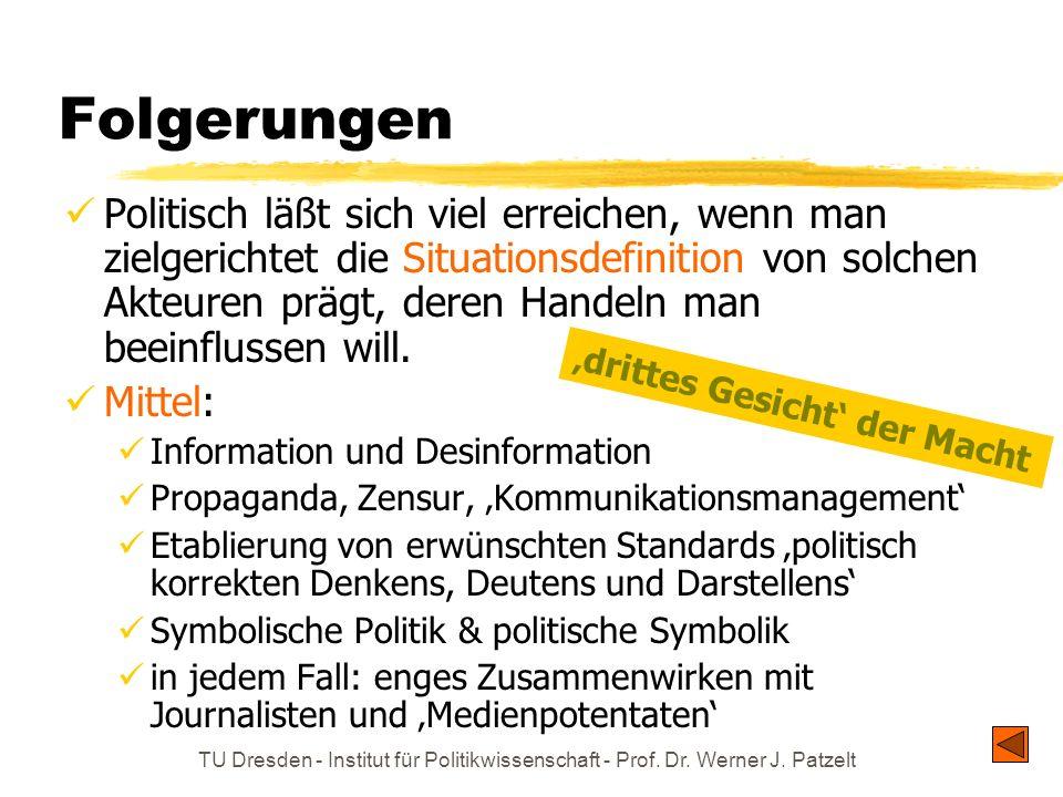 TU Dresden - Institut für Politikwissenschaft - Prof. Dr. Werner J. Patzelt Folgerungen Politisch läßt sich viel erreichen, wenn man zielgerichtet die