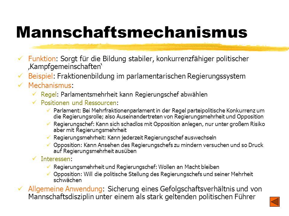 TU Dresden - Institut für Politikwissenschaft - Prof. Dr. Werner J. Patzelt Mannschaftsmechanismus Funktion: Sorgt für die Bildung stabiler, konkurren