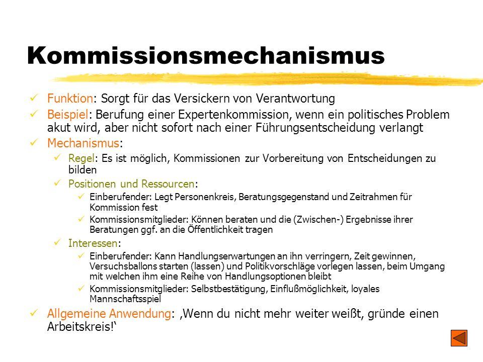 TU Dresden - Institut für Politikwissenschaft - Prof. Dr. Werner J. Patzelt Kommissionsmechanismus Funktion: Sorgt für das Versickern von Verantwortun