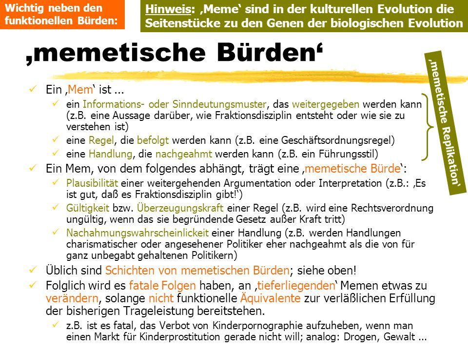 TU Dresden - Institut für Politikwissenschaft - Prof. Dr. Werner J. Patzelt memetische Bürden Ein Mem ist... ein Informations- oder Sinndeutungsmuster