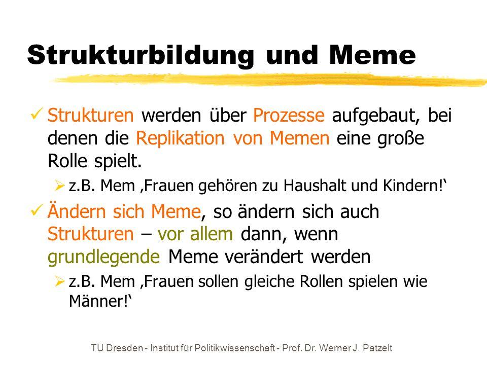 TU Dresden - Institut für Politikwissenschaft - Prof. Dr. Werner J. Patzelt Strukturbildung und Meme Strukturen werden über Prozesse aufgebaut, bei de