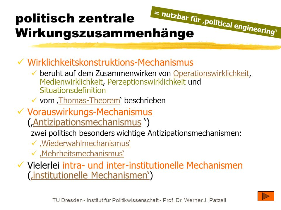 TU Dresden - Institut für Politikwissenschaft - Prof. Dr. Werner J. Patzelt politisch zentrale Wirkungszusammenhänge Wirklichkeitskonstruktions-Mechan