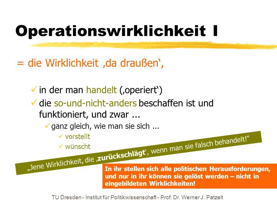 TU Dresden - Institut für Politikwissenschaft - Prof. Dr. Werner J. Patzelt Operationswirklichkeit I = die Wirklichkeit da draußen, in der man handelt
