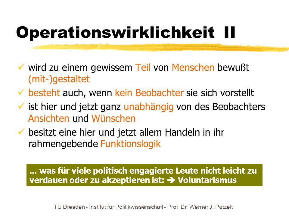TU Dresden - Institut für Politikwissenschaft - Prof. Dr. Werner J. Patzelt Operationswirklichkeit II wird zu einem gewissem Teil von Menschen bewußt