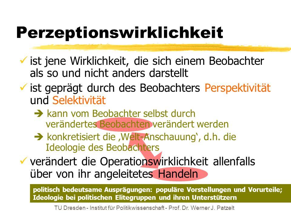 TU Dresden - Institut für Politikwissenschaft - Prof. Dr. Werner J. Patzelt Perzeptionswirklichkeit ist jene Wirklichkeit, die sich einem Beobachter a