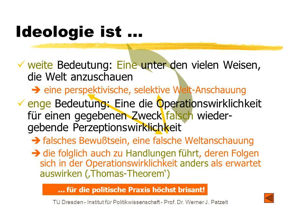 TU Dresden - Institut für Politikwissenschaft - Prof. Dr. Werner J. Patzelt Ideologie ist...... für die politische Praxis höchst brisant! weite Bedeut