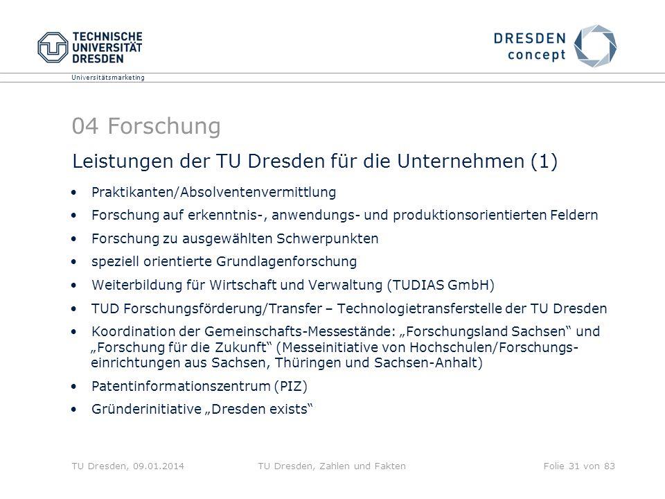 Universitätsmarketing TU Dresden, 09.01.2014TU Dresden, Zahlen und FaktenFolie 31 von 83 04 Forschung Leistungen der TU Dresden für die Unternehmen (1