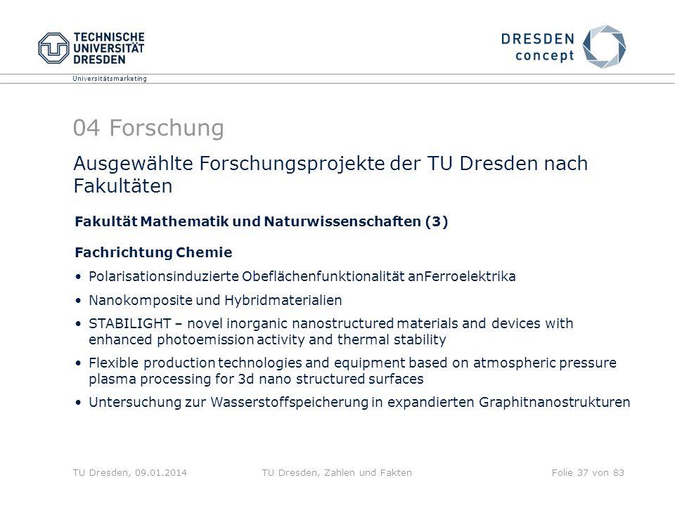 Universitätsmarketing TU Dresden, 09.01.2014TU Dresden, Zahlen und FaktenFolie 37 von 83 Ausgewählte Forschungsprojekte der TU Dresden nach Fakultäten