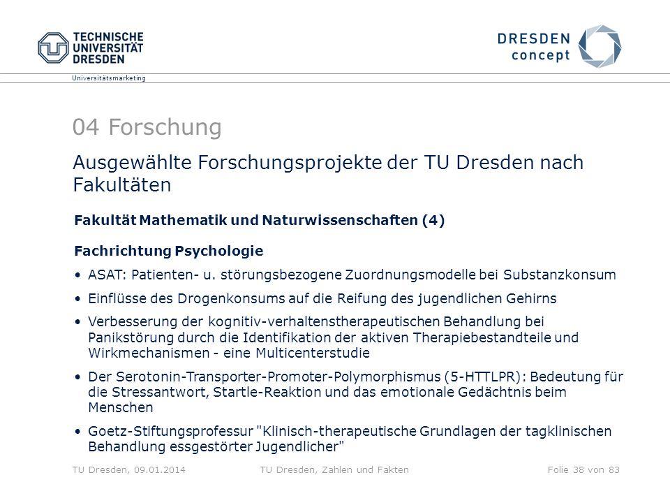 Universitätsmarketing TU Dresden, 09.01.2014TU Dresden, Zahlen und FaktenFolie 38 von 83 Ausgewählte Forschungsprojekte der TU Dresden nach Fakultäten