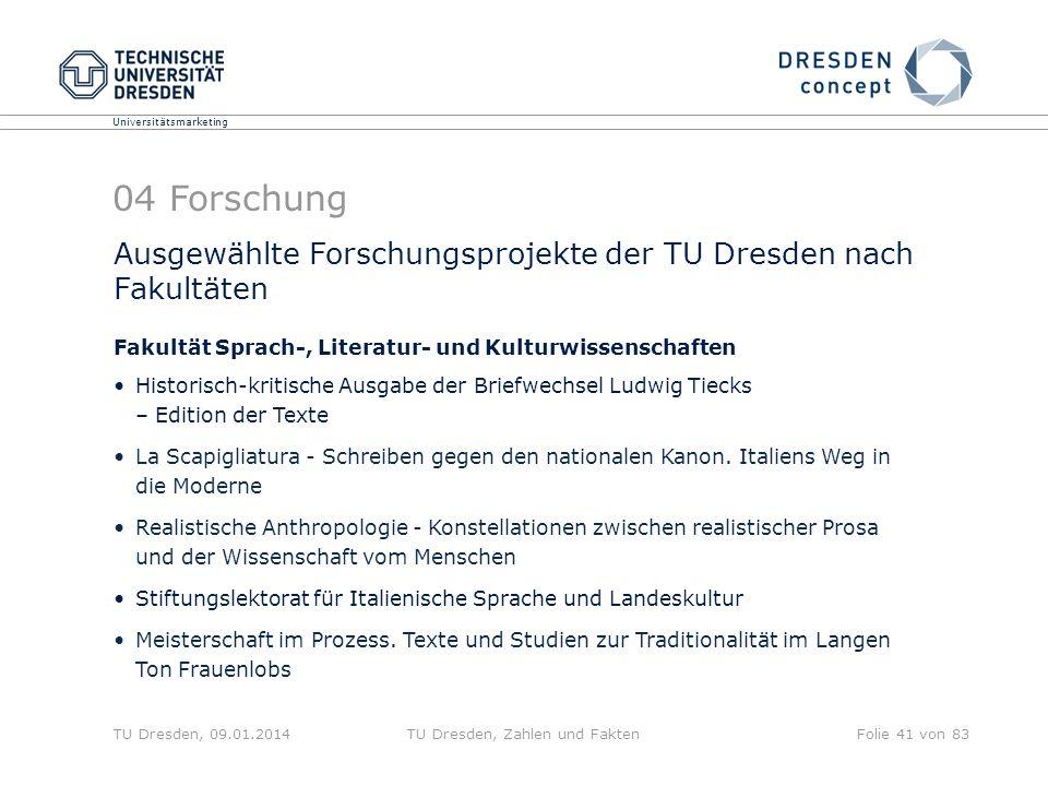 Universitätsmarketing TU Dresden, 09.01.2014TU Dresden, Zahlen und FaktenFolie 41 von 83 Ausgewählte Forschungsprojekte der TU Dresden nach Fakultäten