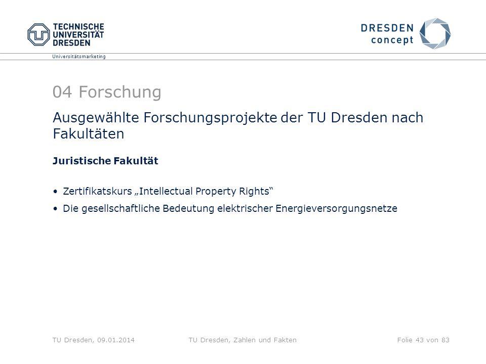 Universitätsmarketing TU Dresden, 09.01.2014TU Dresden, Zahlen und FaktenFolie 43 von 83 04 Forschung Ausgewählte Forschungsprojekte der TU Dresden na