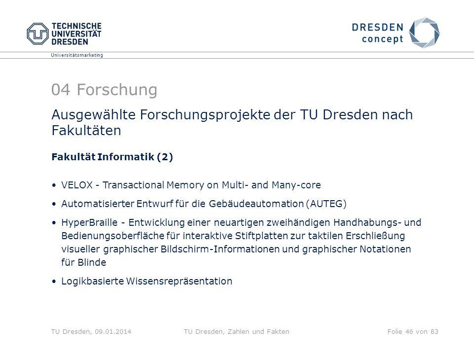 Universitätsmarketing TU Dresden, 09.01.2014TU Dresden, Zahlen und FaktenFolie 46 von 83 04 Forschung Ausgewählte Forschungsprojekte der TU Dresden na