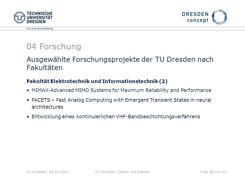 Universitätsmarketing TU Dresden, 09.01.2014TU Dresden, Zahlen und FaktenFolie 48 von 83 Ausgewählte Forschungsprojekte der TU Dresden nach Fakultäten
