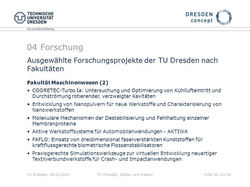 Universitätsmarketing TU Dresden, 09.01.2014TU Dresden, Zahlen und FaktenFolie 50 von 83 04 Forschung Ausgewählte Forschungsprojekte der TU Dresden na