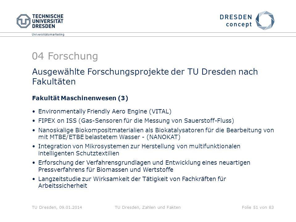 Universitätsmarketing TU Dresden, 09.01.2014TU Dresden, Zahlen und FaktenFolie 51 von 83 Ausgewählte Forschungsprojekte der TU Dresden nach Fakultäten