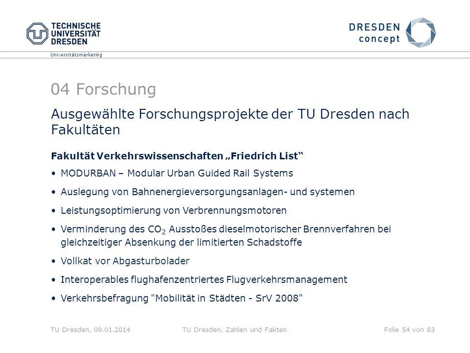 Universitätsmarketing TU Dresden, 09.01.2014TU Dresden, Zahlen und FaktenFolie 54 von 83 04 Forschung Ausgewählte Forschungsprojekte der TU Dresden na