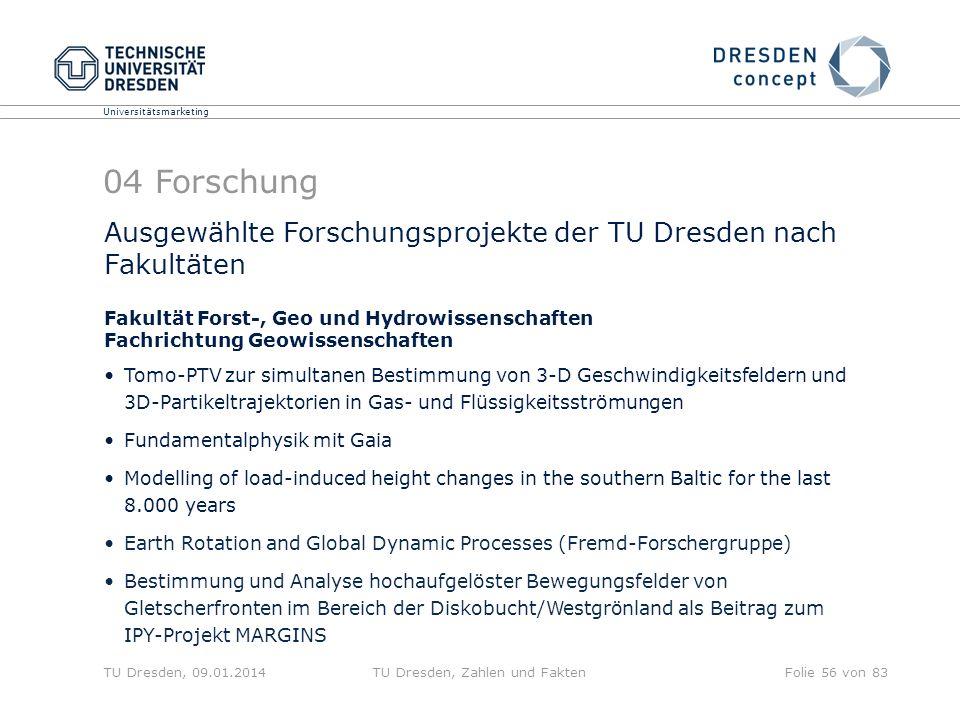 Universitätsmarketing TU Dresden, 09.01.2014TU Dresden, Zahlen und FaktenFolie 56 von 83 Ausgewählte Forschungsprojekte der TU Dresden nach Fakultäten
