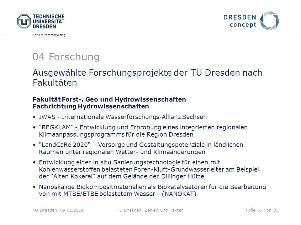 Universitätsmarketing TU Dresden, 09.01.2014TU Dresden, Zahlen und FaktenFolie 57 von 83 Ausgewählte Forschungsprojekte der TU Dresden nach Fakultäten