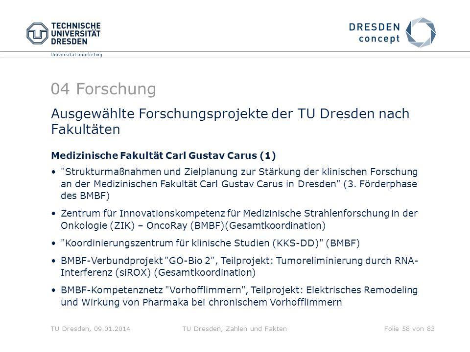 Universitätsmarketing TU Dresden, 09.01.2014TU Dresden, Zahlen und FaktenFolie 58 von 83 04 Forschung Ausgewählte Forschungsprojekte der TU Dresden na