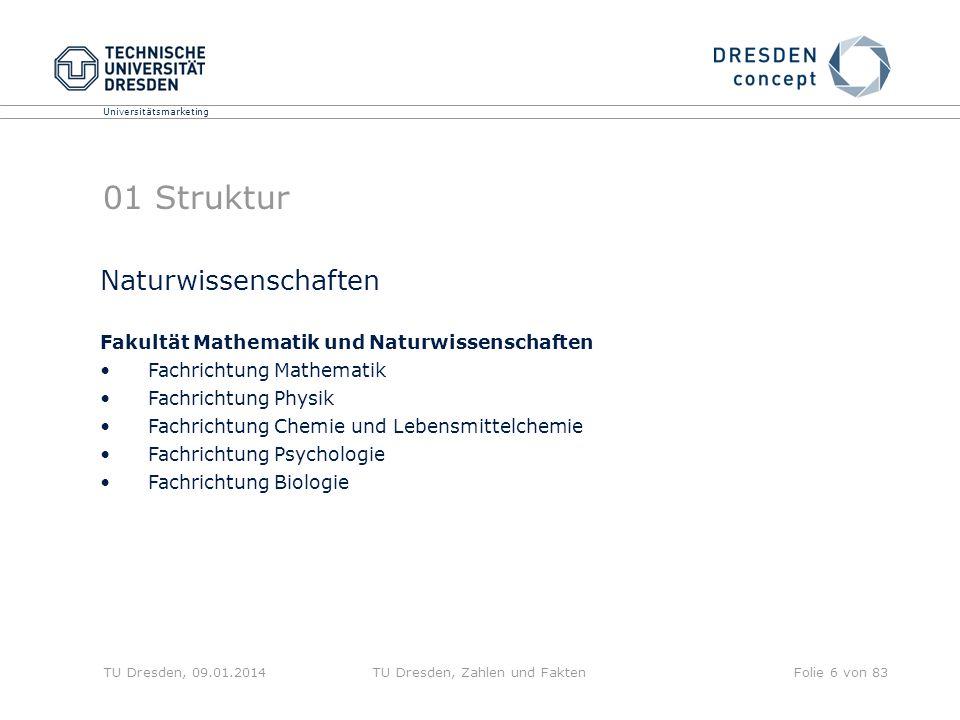Universitätsmarketing TU Dresden, 09.01.2014TU Dresden, Zahlen und FaktenFolie 6 von 83 01 Struktur Naturwissenschaften Fakultät Mathematik und Naturw