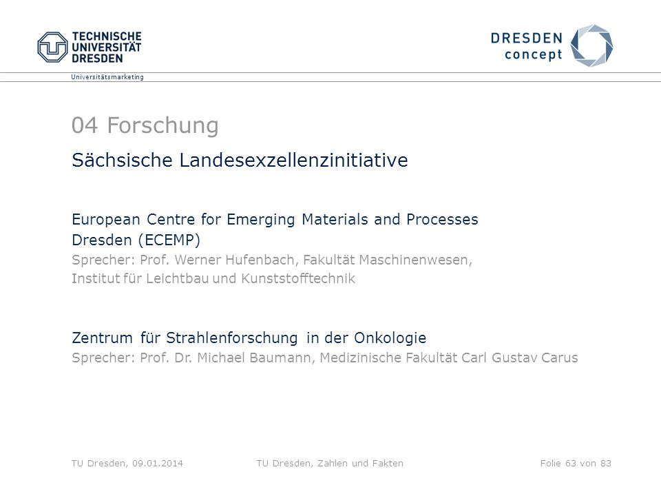 Universitätsmarketing TU Dresden, 09.01.2014TU Dresden, Zahlen und FaktenFolie 63 von 83 Sächsische Landesexzellenzinitiative European Centre for Emerging Materials and Processes Dresden (ECEMP) Sprecher: Prof.
