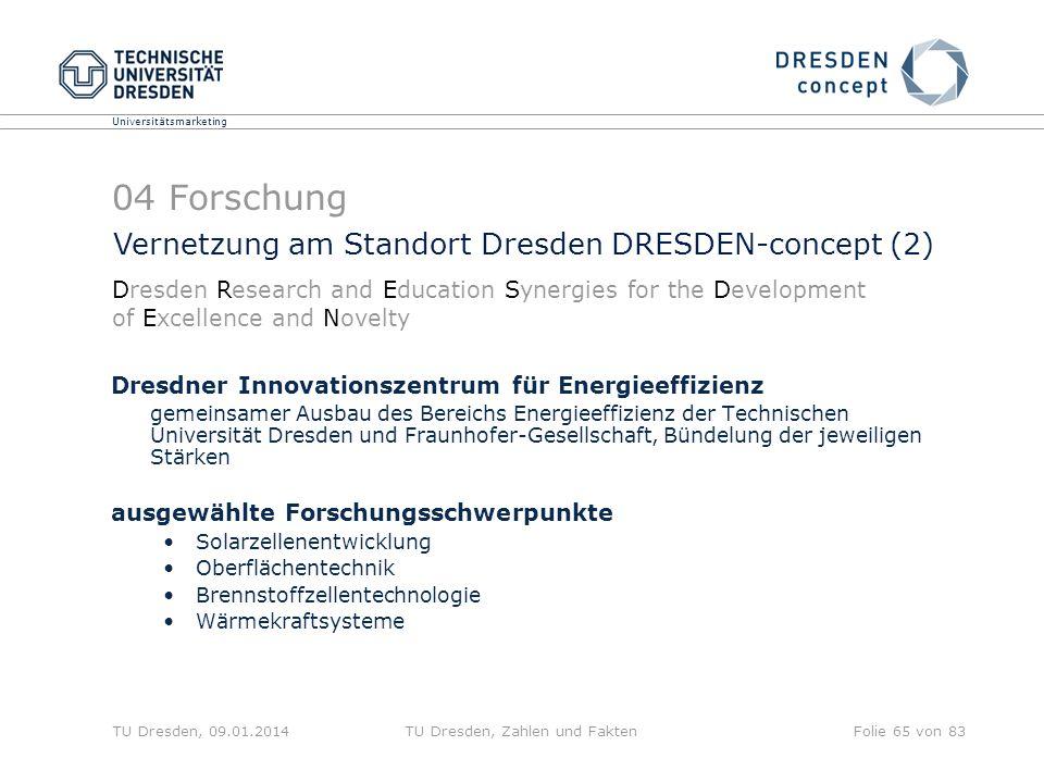 Universitätsmarketing TU Dresden, 09.01.2014TU Dresden, Zahlen und FaktenFolie 65 von 83 Dresdner Innovationszentrum für Energieeffizienz gemeinsamer