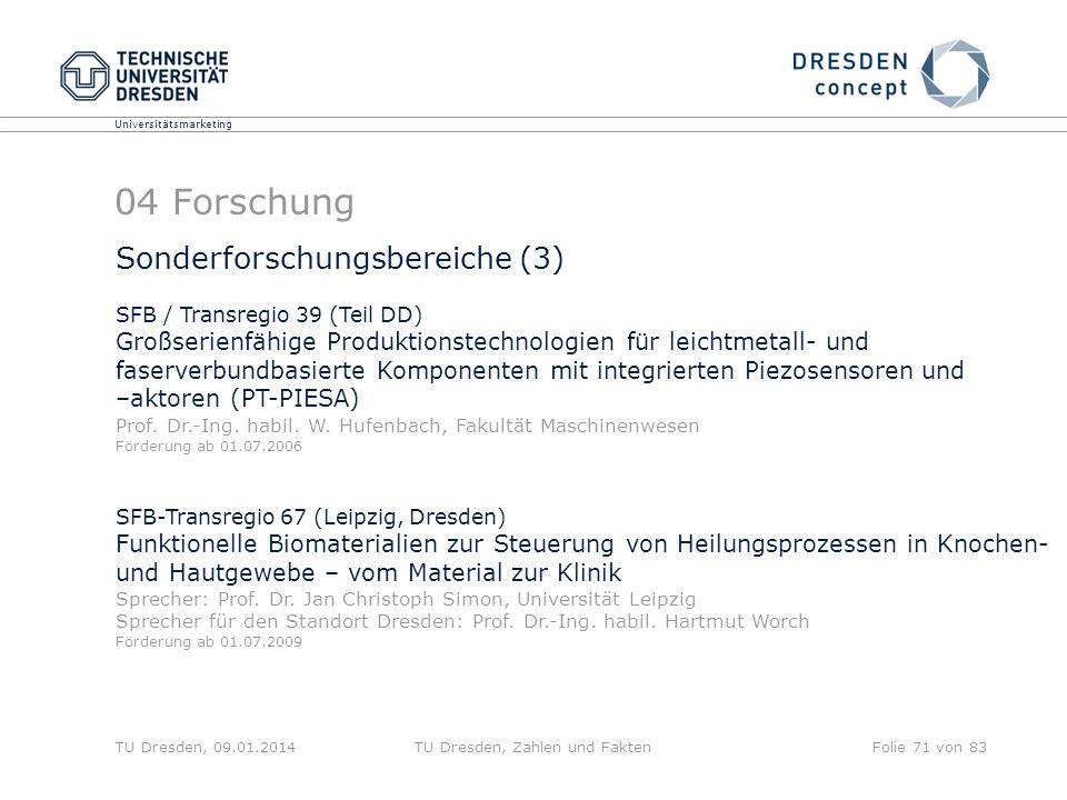 Universitätsmarketing TU Dresden, 09.01.2014TU Dresden, Zahlen und FaktenFolie 71 von 83 04 Forschung Sonderforschungsbereiche (3) SFB / Transregio 39