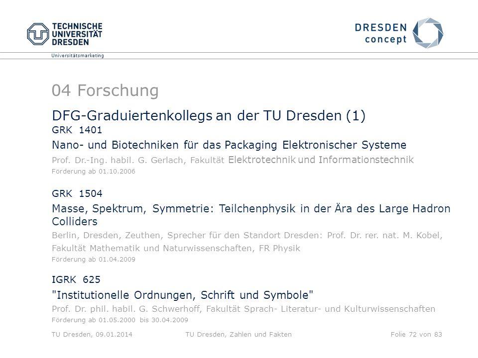 Universitätsmarketing TU Dresden, 09.01.2014TU Dresden, Zahlen und FaktenFolie 72 von 83 04 Forschung DFG-Graduiertenkollegs an der TU Dresden (1) GRK