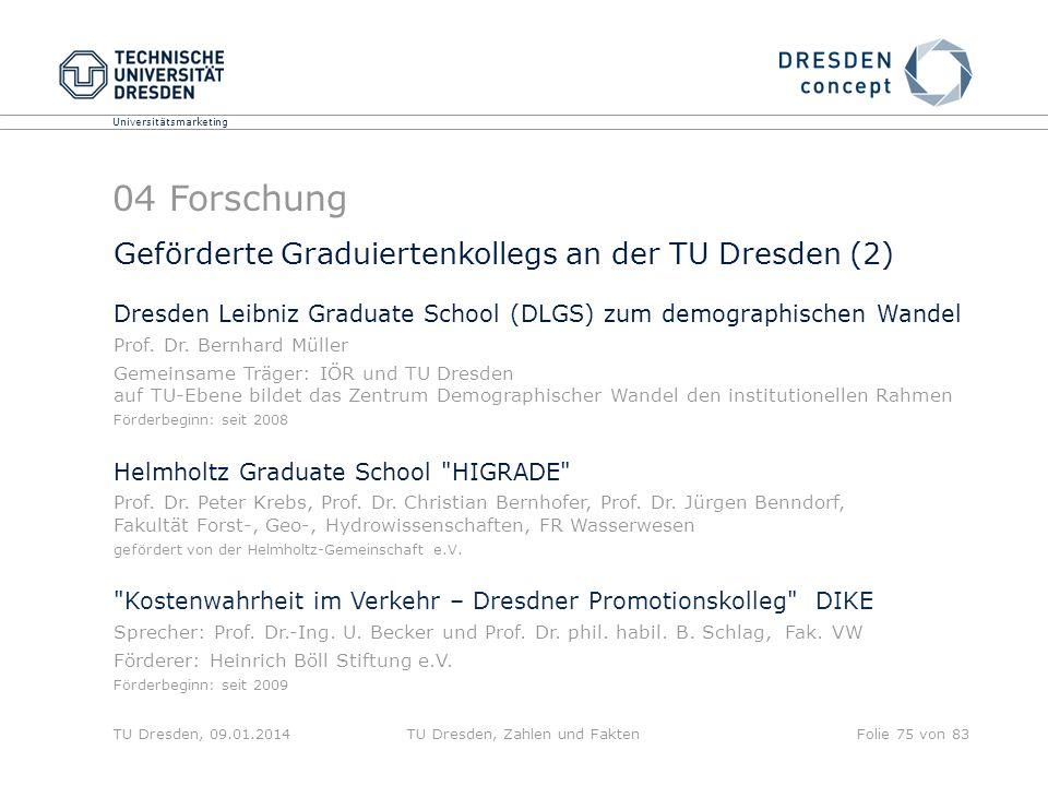 Universitätsmarketing TU Dresden, 09.01.2014TU Dresden, Zahlen und FaktenFolie 75 von 83 Geförderte Graduiertenkollegs an der TU Dresden (2) Dresden L