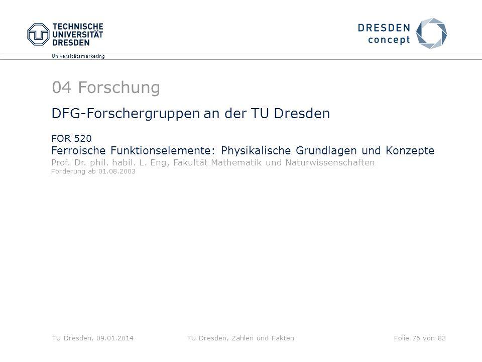 Universitätsmarketing TU Dresden, 09.01.2014TU Dresden, Zahlen und FaktenFolie 76 von 83 04 Forschung DFG-Forschergruppen an der TU Dresden FOR 520 Fe