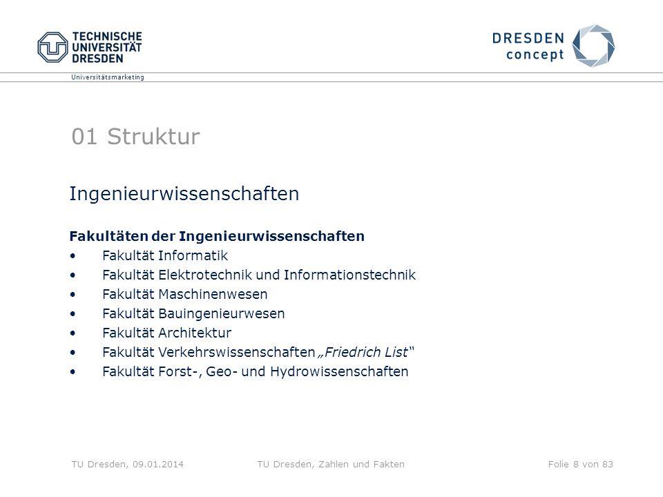 Universitätsmarketing TU Dresden, 09.01.2014TU Dresden, Zahlen und FaktenFolie 8 von 83 01 Struktur Ingenieurwissenschaften Fakultäten der Ingenieurwi