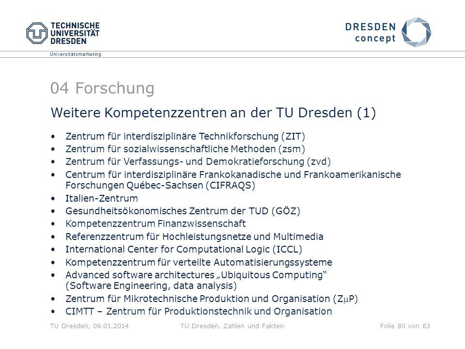Universitätsmarketing TU Dresden, 09.01.2014TU Dresden, Zahlen und FaktenFolie 80 von 83 04 Forschung Weitere Kompetenzzentren an der TU Dresden (1) Z