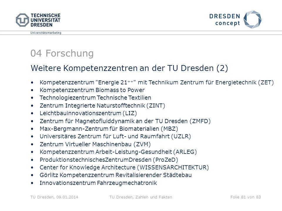 Universitätsmarketing TU Dresden, 09.01.2014TU Dresden, Zahlen und FaktenFolie 81 von 83 04 Forschung Kompetenzzentrum