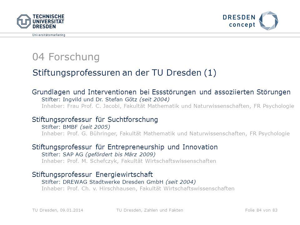 Universitätsmarketing TU Dresden, 09.01.2014TU Dresden, Zahlen und FaktenFolie 84 von 83 04 Forschung Stiftungsprofessuren an der TU Dresden (1) Grund