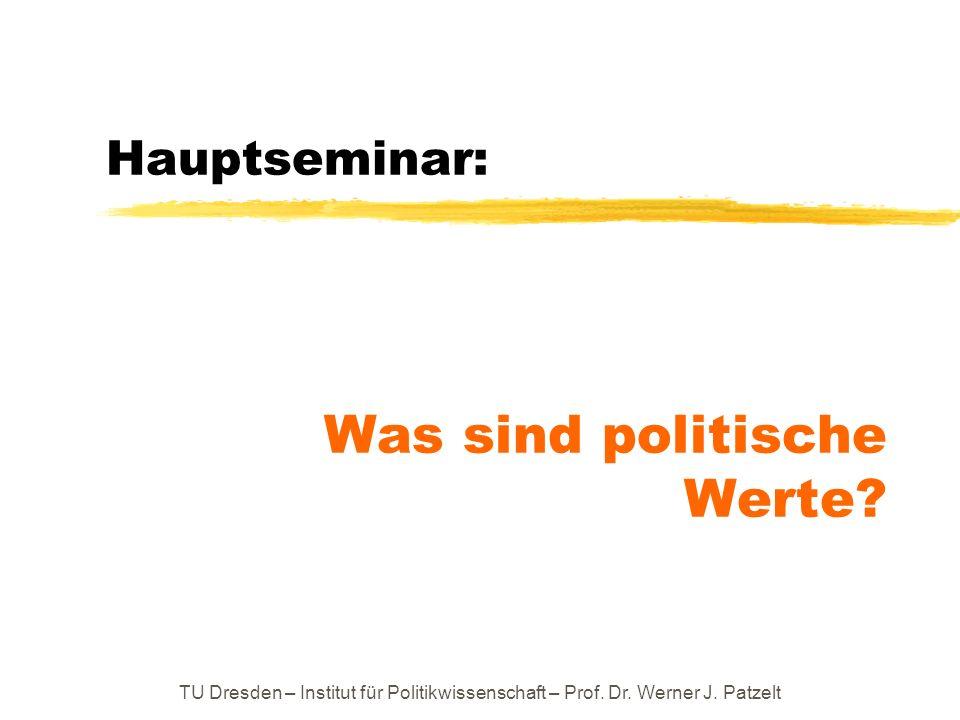 zweiter Schritt: Einführung in eine wissenschaftstheoretische Beschreibungssprache für Werte TU Dresden – Institut für Politikwissenschaft – Prof.