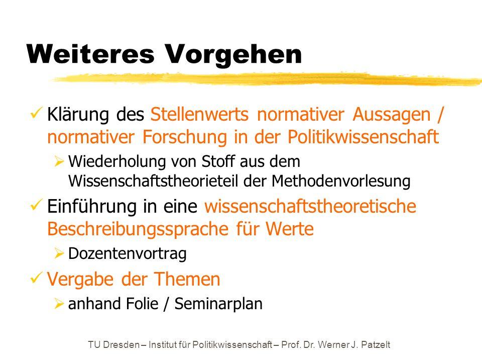 erster Schritt: Der Stellenwert normativer Aussagen / normativer Forschung in der Politikwissenschaft TU Dresden – Institut für Politikwissenschaft – Prof.