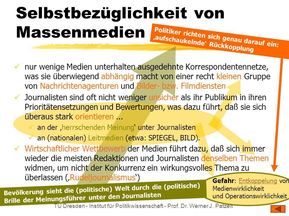 TU Dresden - Institut für Politikwissenschaft - Prof. Dr. Werner J. Patzelt verschärft durch anwaltschaftlichen Journalismus: Macht ohne Mandat massen